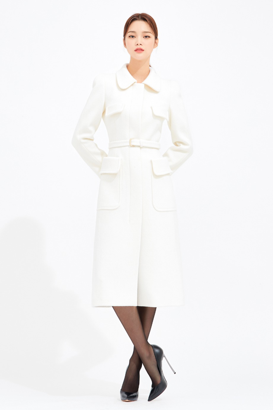 ANGORA WOOL ROUND COLLAR SLIMLINE COAT
